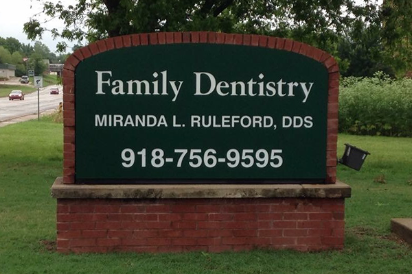 okmulgee family dentist front sign 2